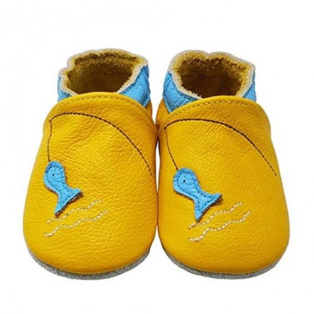 Yalion® genuine leather Baby Shoes Soft Soles Yellow Fish