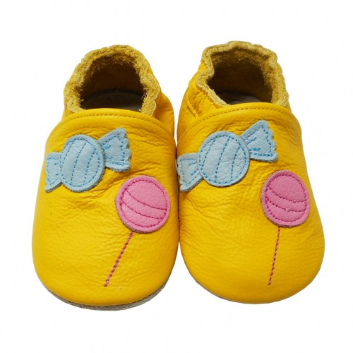 Yalion® genuine leather Baby Shoes Soft Soles Candies Yellow