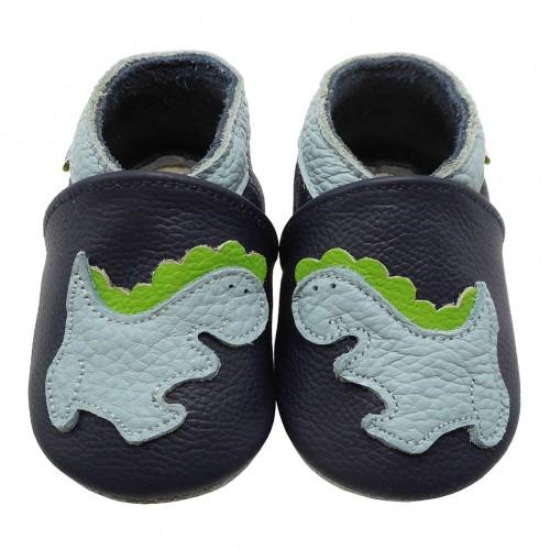 Yalion® Baby Krabbelschuhe Lederpuschen Lauflernschuhe Dinosaurier Weiß