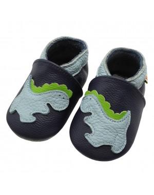 Yalion® Baby Krabbelschuhe Lederpuschen Lauflernschuhe Dinosaurier Dunkelblau