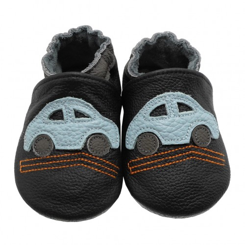 Yalion® genuine leather Baby Shoes Soft Soles Cars Black