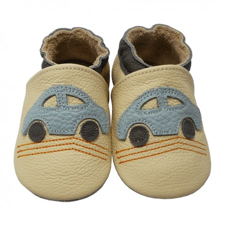 Yalion® genuine leather Baby Shoes Soft Soles Beige Cars