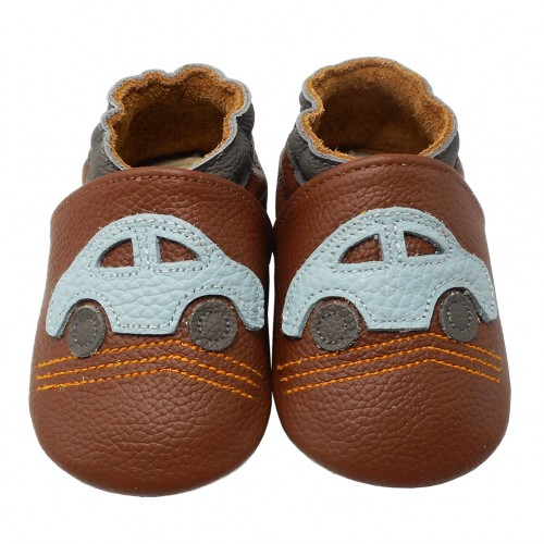 Yalion® genuine leather Baby Shoes Soft Soles Cars Brown