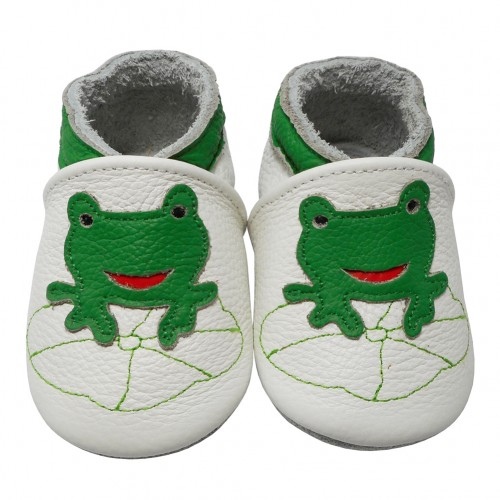 Yalion® genuine leather Baby Shoes Soft Soles Frog White