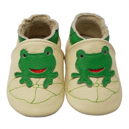 Yalion® genuine leather Baby Shoes Soft Soles Frog Beige