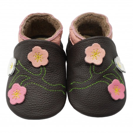 Yalion® Baby genuine leather Shoes Soft Soles Flowers Dark Brown