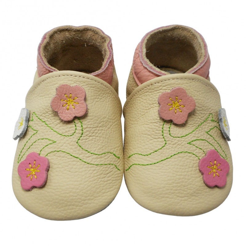 Yalion® Baby genuine leather Shoes Soft Soles Flowers Beige