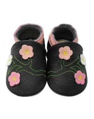 Baby Krabbelschuhe Blumen Black