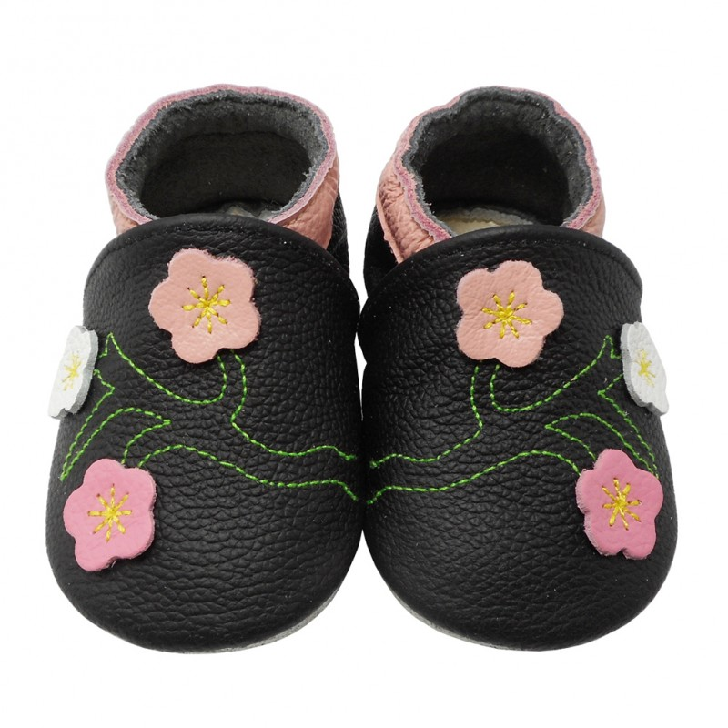Yalion® Baby genuine leather Shoes Soft Soles Flowers Black