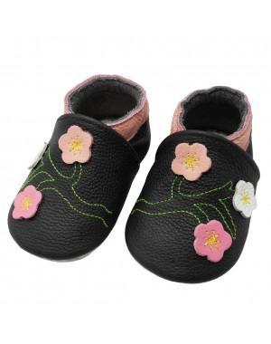 Yalion® Baby Krabbelschuhe Lederpuschen Lauflernschuhe Blumen Schwarz