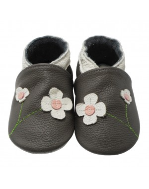 Yalion® Baby genuine leather Shoes Soft Soles Flowers Grey