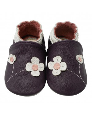 Yalion® Baby genuine leather Shoes Soft Soles Flowers Purple
