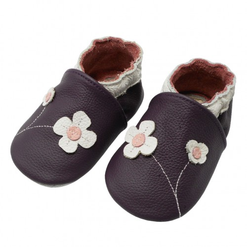 Yalion® Baby Krabbelschuhe Lederpuschen Lauflernschuhe Blumen Lila