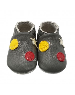 Yalion® genuine leather Baby Shoes Soft Soles Aerospace Grey
