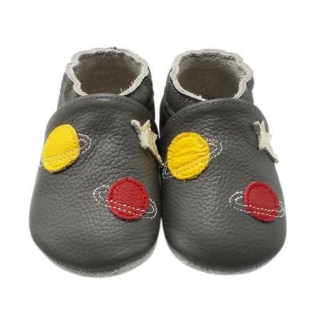Yalion® genuine leather Baby Shoes Soft Soles Aerospace Grey